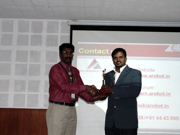 Seminar on Robotics and Industrial Applications, by Mr.M.K Swaminathan,Founder and CEO, A-Robot, Chennai, organized by Department of CSE, on 24 Jul 2014